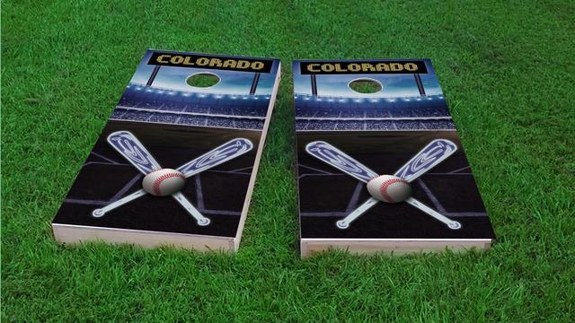 Colorado Baseball Themed Custom Cornhole Board Design