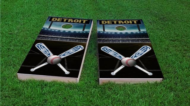 Detroit Baseball Themed Custom Cornhole Board Design