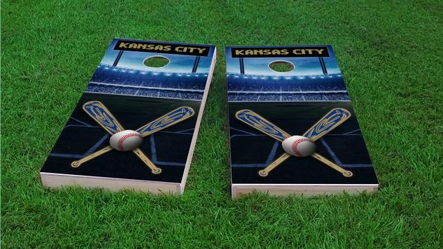 Kansas City Baseball Themed Custom Cornhole Board Design