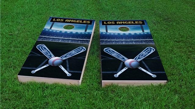Los Angeles 1 Baseball Themed Custom Cornhole Board Design