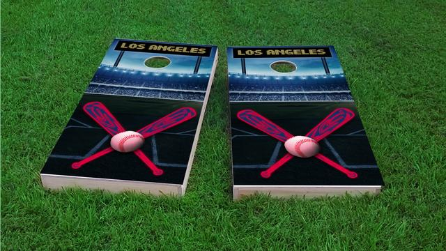 Los Angeles 2 Baseball Themed Custom Cornhole Board Design