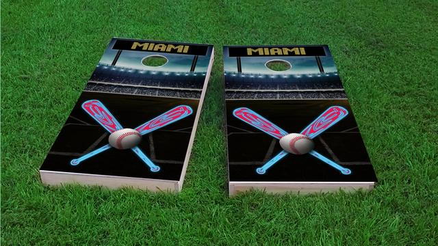 Miami Baseball Themed Custom Cornhole Board Design