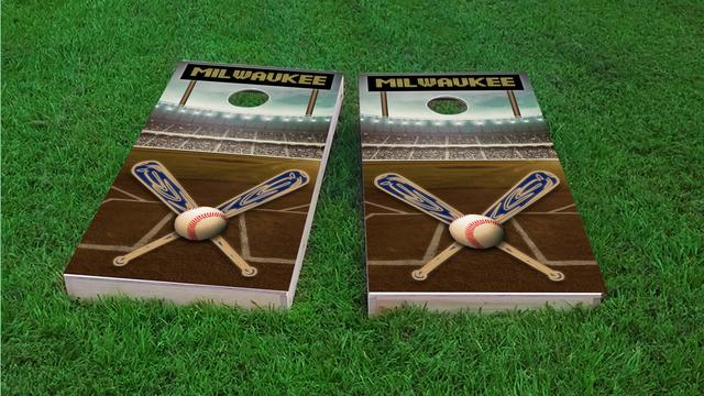Milwaukee Baseball Themed Custom Cornhole Board Design