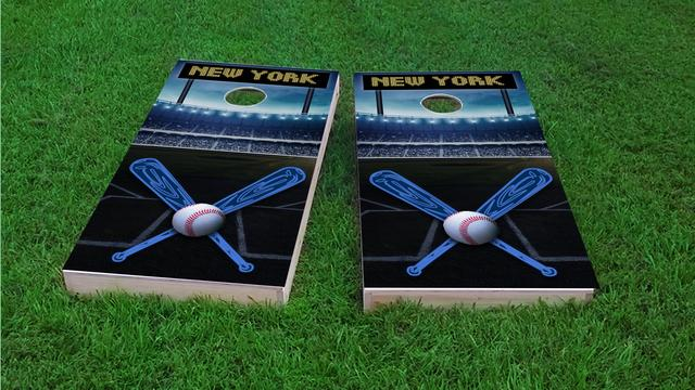 New York 1 Baseball Themed Custom Cornhole Board Design