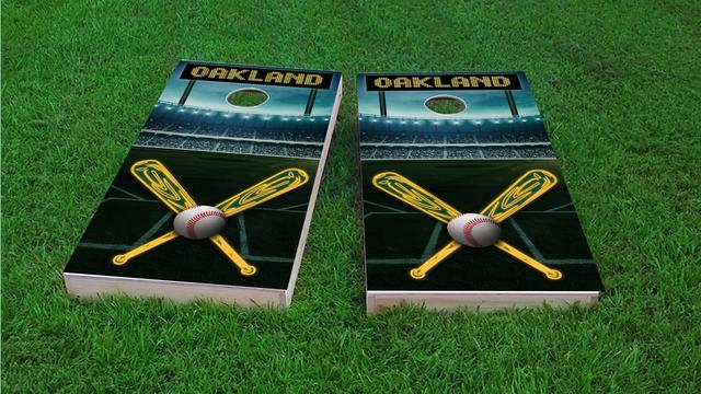 Oakland Baseball Themed Custom Cornhole Board Design