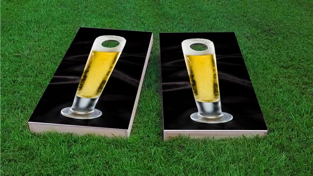 Nice Cold Tall Beer Themed Custom Cornhole Board Design