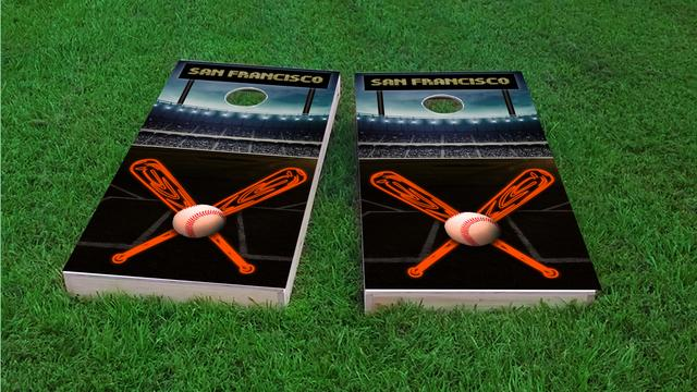 San Francisco Baseball Themed Custom Cornhole Board Design