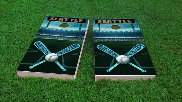 Seattle Baseball Themed Custom Cornhole Board Design