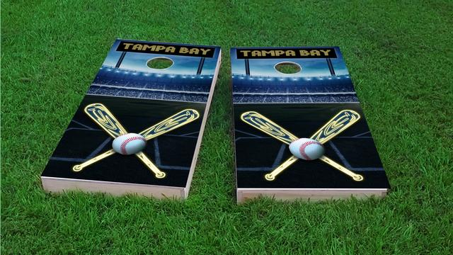 Tampa Bay Baseball Themed Custom Cornhole Board Design