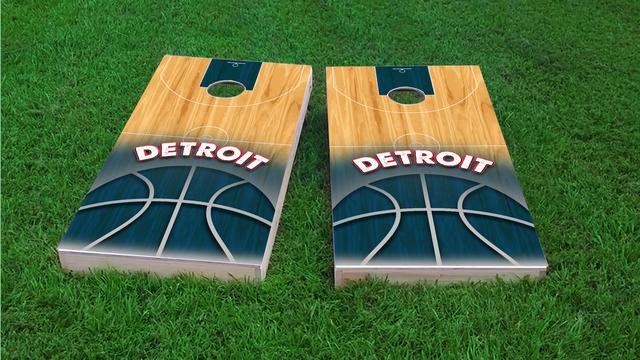 Basketball Detroit Themed Custom Cornhole Board Design