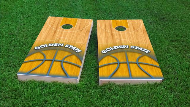 Basketball Golden State Themed Custom Cornhole Board Design