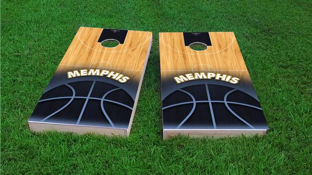 Basketball Memphis Themed Custom Cornhole Board Design