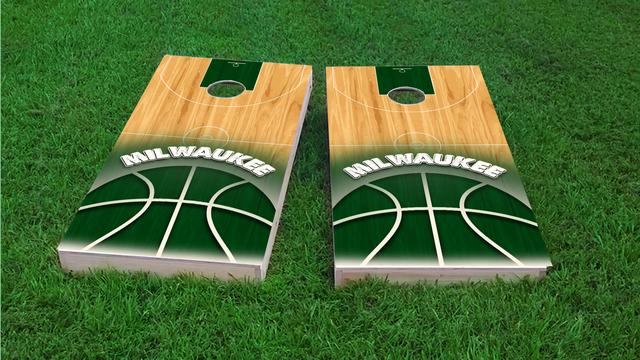 Basketball Milwaukee Themed Custom Cornhole Board Design