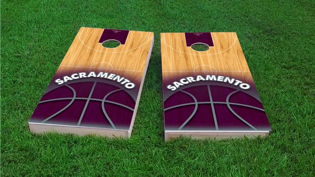 Basketball Sacremento Themed Custom Cornhole Board Design