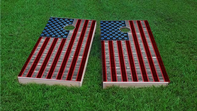 American Flag Neon Themed Custom Cornhole Board Design