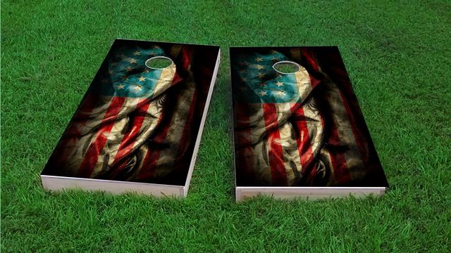 American Flag Vintage 2 Themed Custom Cornhole Board Design