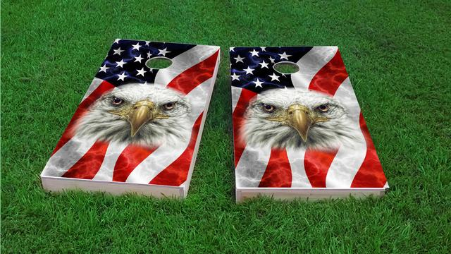 American Flag Bald Eagle Themed Custom Cornhole Board Design