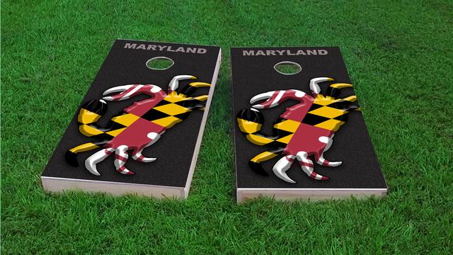 Maryland Crab Flag Themed Custom Cornhole Board Design