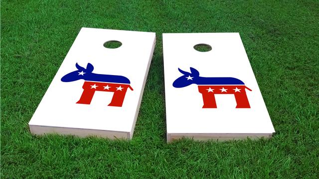 Democratic Donkey Themed Custom Cornhole Board Design