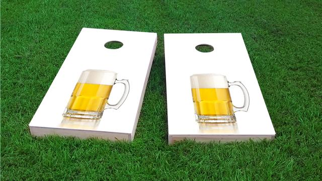 His Hers Pint Themed Custom Cornhole Board Design