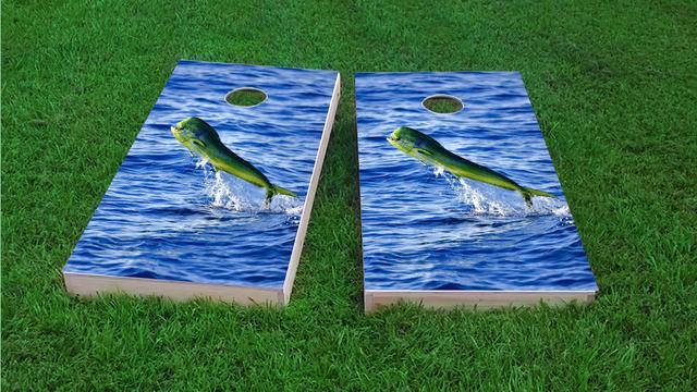 Mahi Themed Custom Cornhole Board Design