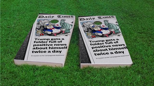 Political Paper Themed Custom Cornhole Board Design