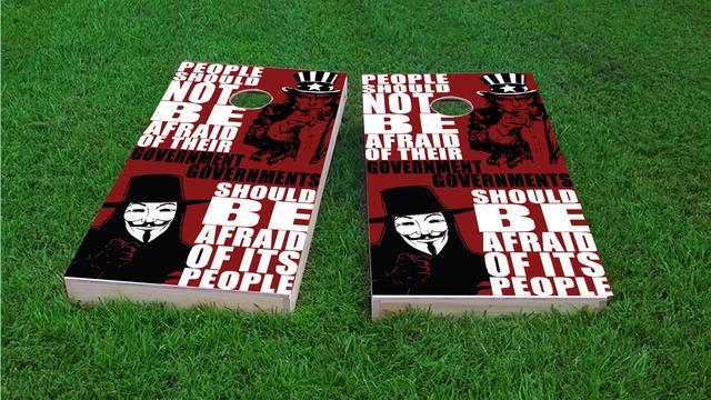 Political Vendetta Themed Custom Cornhole Board Design