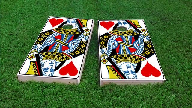 Queen Playing Card Themed Custom Cornhole Board Design