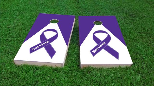 Purple Survivor Ribbon Themed Custom Cornhole Board Design