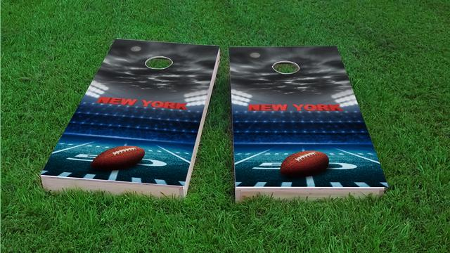 New York 1 Football Themed Custom Cornhole Board Design