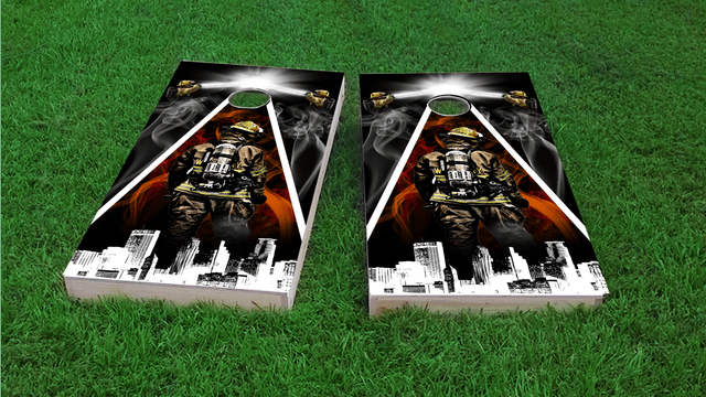 Firefighter City Scape Themed Custom Cornhole Board Design