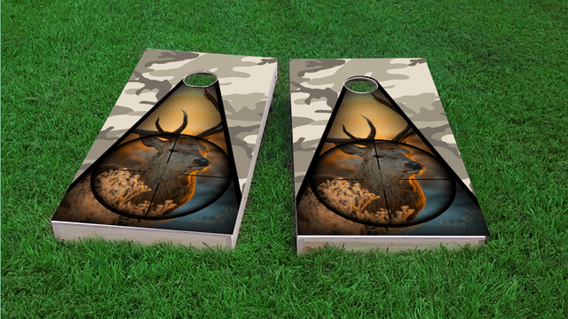 Camo Deer Hunter Themed Custom Cornhole Board Design