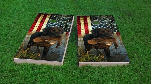 Duck Hunting Lab Themed Custom Cornhole Board Design
