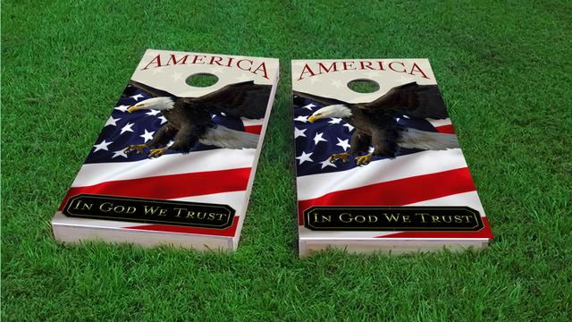 In God We Trust Bald Eagle Themed Custom Cornhole Board Design