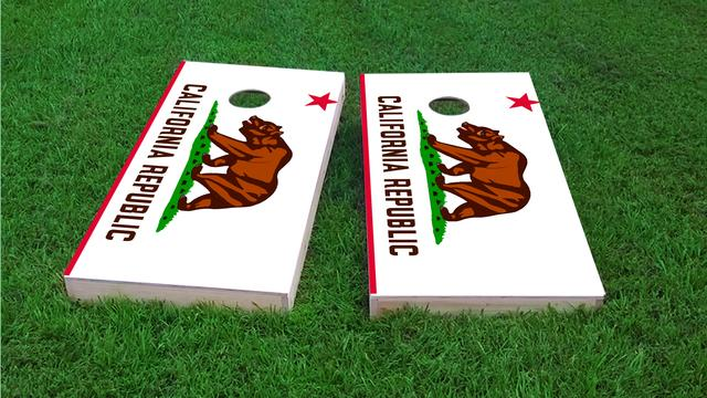 California State Flag Themed Custom Cornhole Board Design