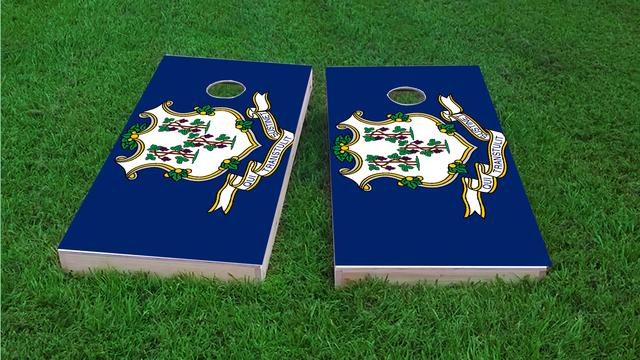 Connecticut State Flag Themed Custom Cornhole Board Design