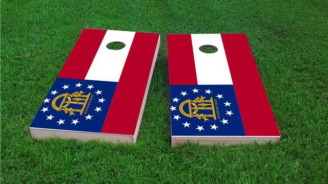 Georgia State Flag Themed Custom Cornhole Board Design