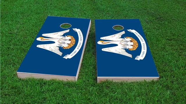 Louisiana State Flag Themed Custom Cornhole Board Design