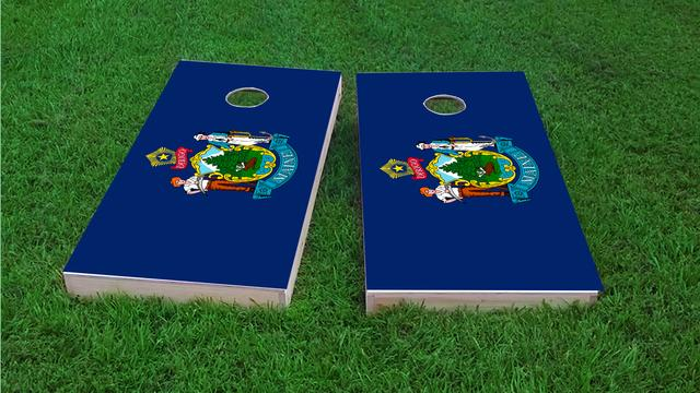 Maine State Flag Themed Custom Cornhole Board Design