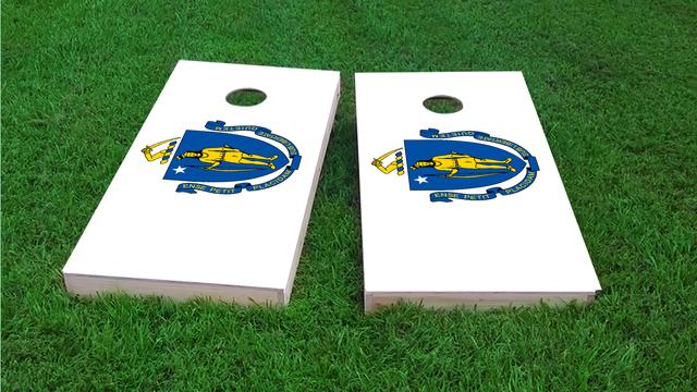 Massachusetts State Flag Themed Custom Cornhole Board Design