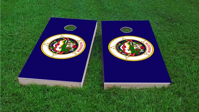 Minnesota State Flag Themed Custom Cornhole Board Design