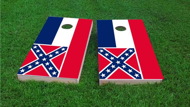 Mississippi State Flag Themed Custom Cornhole Board Design