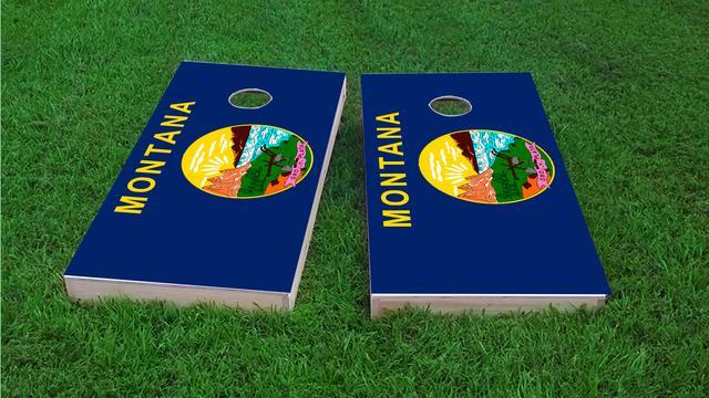 Montana State Flag Themed Custom Cornhole Board Design