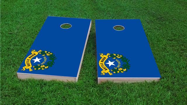 Nevada State Flag Themed Custom Cornhole Board Design