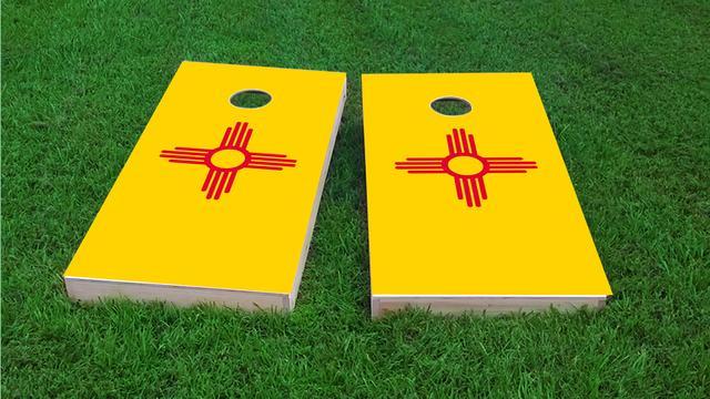 New Mexico State Flag Themed Custom Cornhole Board Design