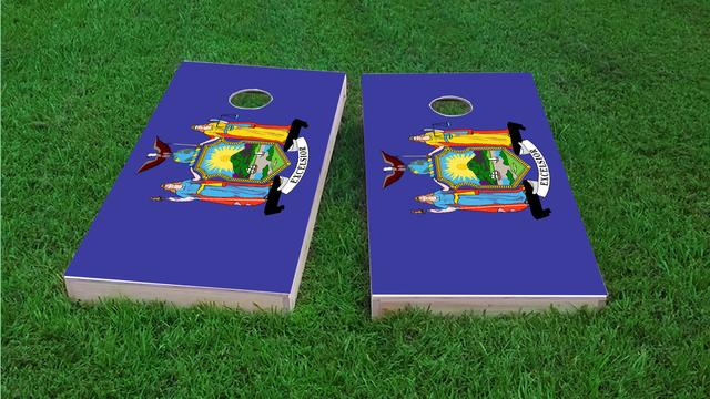 New York State Flag Themed Custom Cornhole Board Design