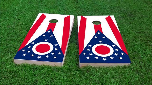 Ohio State Flags Themed Custom Cornhole Board Design