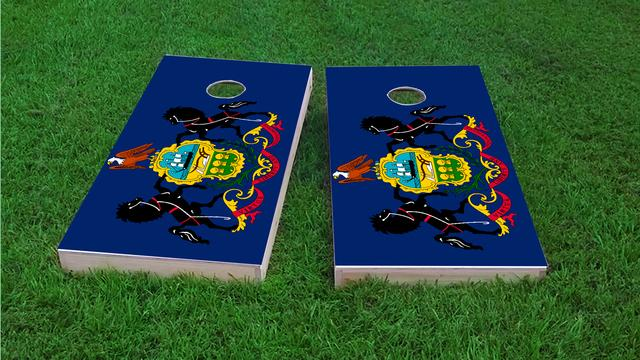 Pennsylvania State Flag Themed Custom Cornhole Board Design