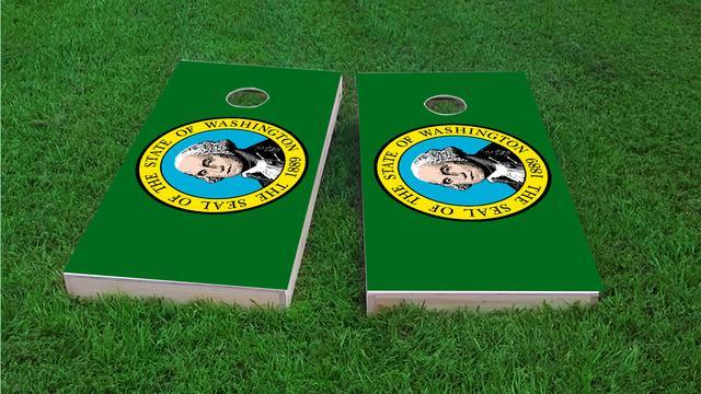 Washington State Flag Themed Custom Cornhole Board Design