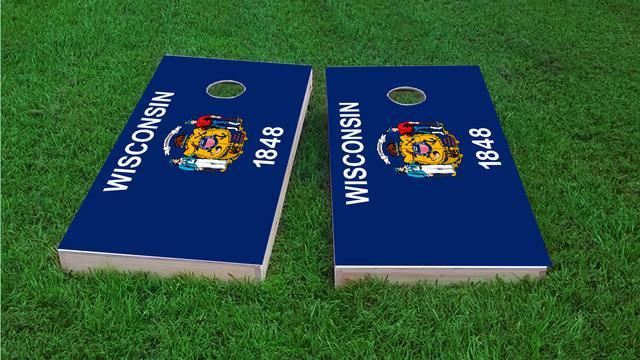 Wisconsin State Flag Themed Custom Cornhole Board Design